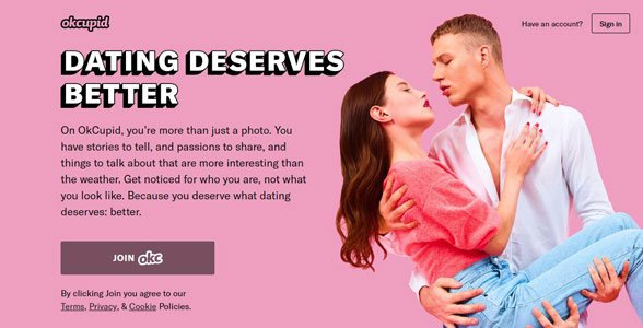 Screenshot of OkCupid's homepage