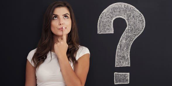 Photo of a woman thinking of a question
