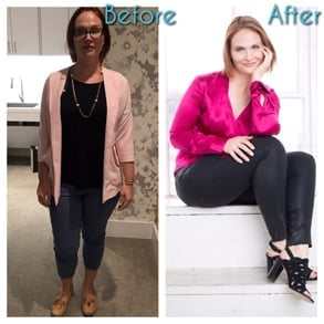 Photo of one of Kimberly's clients before and after