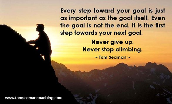 Photo of mountain climber and quote by Tom Seaman