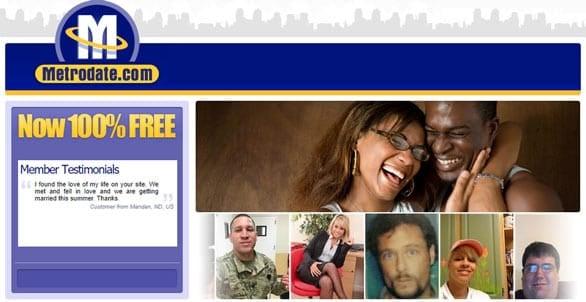 Screenshot of the Metrodate.com website