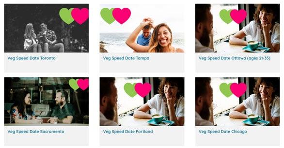 Screenshot of Find Veg Love event cities