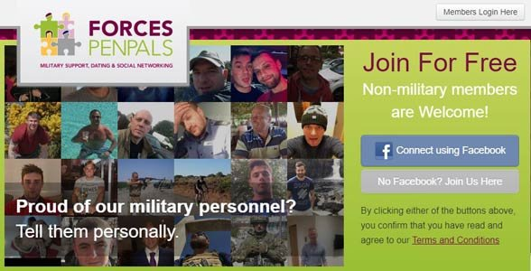 Screenshot of ForcesPenpals.net