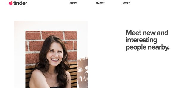 Screenshot of the Tinder homepage