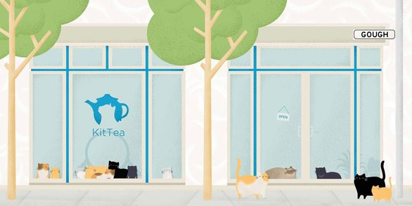 Screenshot from the KitTea Cafe home page