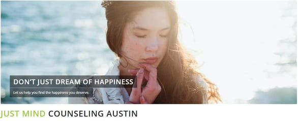 Screenshot of the Just Mind Austin homepage