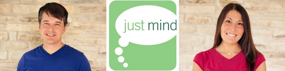 Photo of Just Mind Founders William and Teri Schroeder and the logo