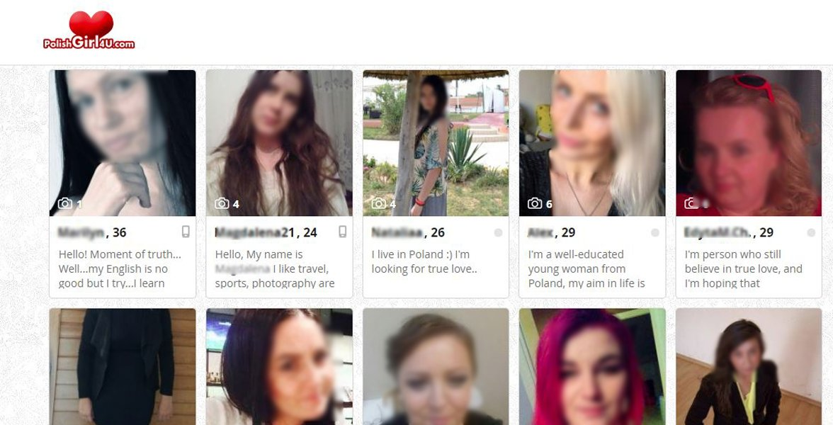 Screenshot of PolishGirl4U's search page