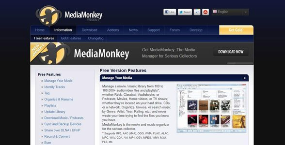 Screenshot of MediaMonkey's website