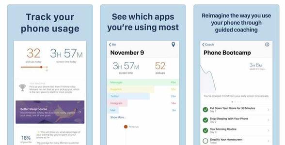 Screenshots of the Moment app