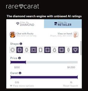 Screenshot of a Rare Carat search