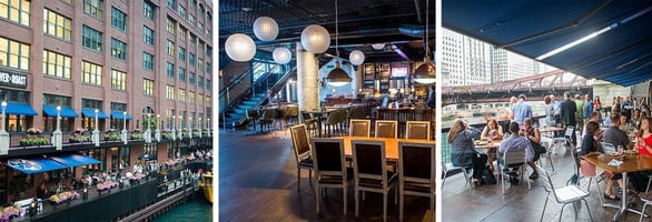 Collage of photos of River Roast interior and exterior