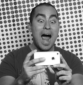 Photo of Cesar Kuriyama taking a video of himself