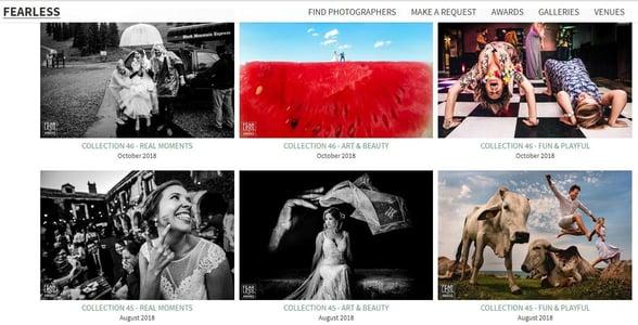 Screenshot of Fearless Photographers award winners in 2018