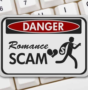 Photo of a romance scam danger sign