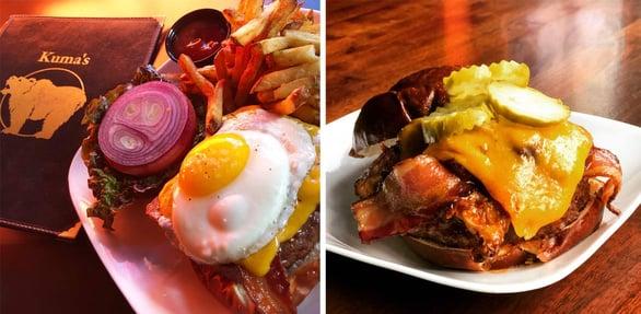 Photos of two Kuma's Corner burgers