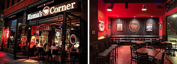 Collage of photos of Kuma's Corner restaurant
