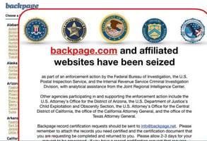 Screenshot of Backpage.com