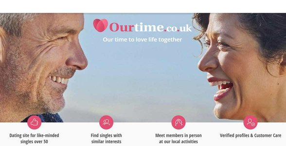 Screenshot of the OurTime homepage