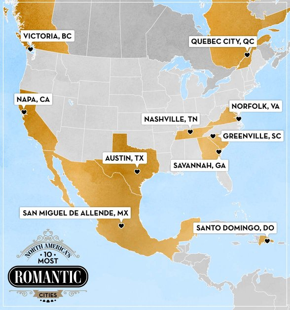 Map of North America's 10 Most Romantic Cities