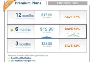 Screenshot of Match's subscription plans