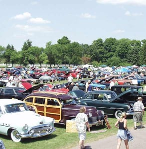 Photo of an outdoor car show at the Gilmore