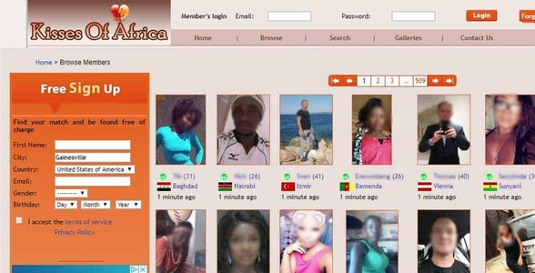 Screenshot of the Kisses Of Africa signup
