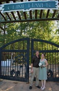 Photo of Rebekah and Mark, a married couple who work at Chimp Haven