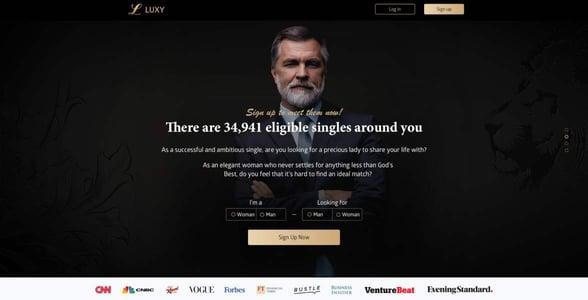Screenshot of Luxy's homepage