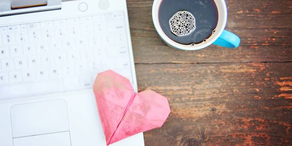 Photo of a heart on a laptop