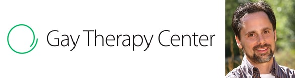 The Gay Therapy Center logo and a photo of Founder Adam Blum