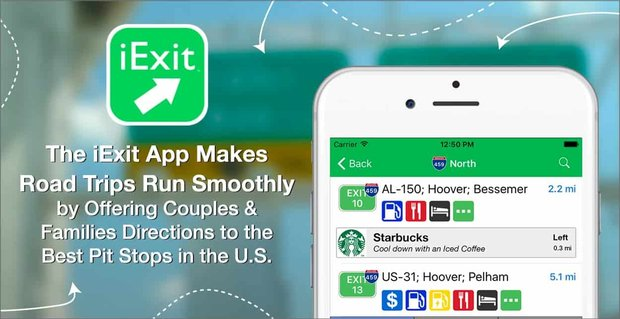 The iExit App Makes Road Trips Run Smoothly by Offering Couples & Families Directions to the Best Pit Stops in the U.S.