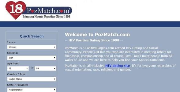 Screenshot of PozMatch.com