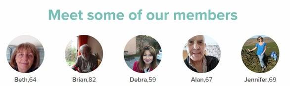 Screenshot of Dating Over 50s members