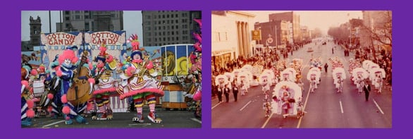 Collage of photos of past Mummers Parades