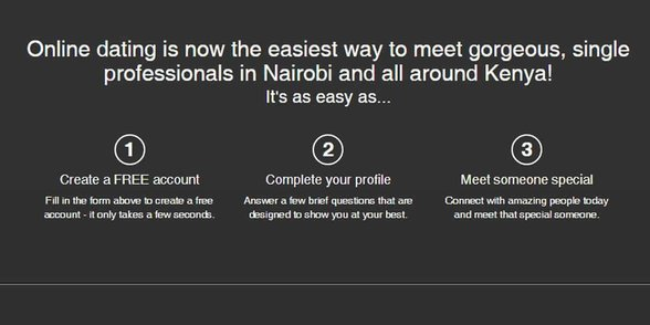 Screenshot of DateMeKenya's signup process