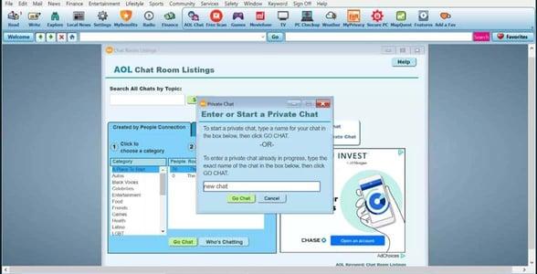Screenshot of AOL Chat