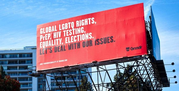 A Grindr billboard