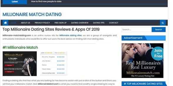 Screenshot of Millionaire Match Dating