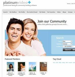 Screenshot of an iDateMedia dating site template