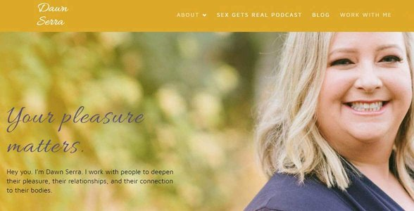 Screenshot of Dawn Serra's website