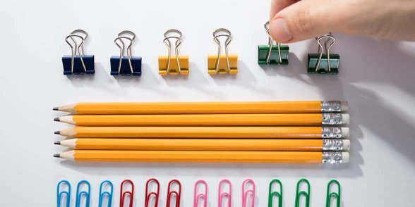 Photo of pencils perfectly lined up