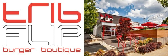 FLIP burger boutique logo and photo of Atlanta location