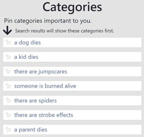 Screenshot of categories on Does the Dog Die?