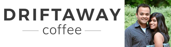 Driftaway Coffee logo and photo of Founders Suyog Mody and Anu Menon