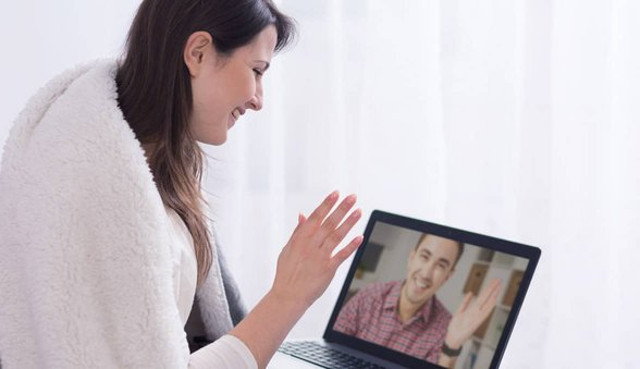 Photo of couple on Skype