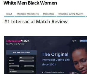 Screenshot of an Interracial Match review