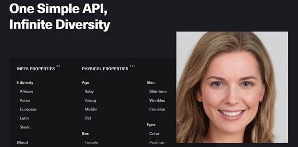 Screenshot of Generated Photos API
