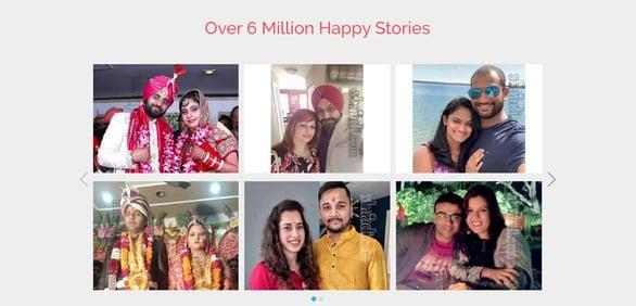 Screenshot of Shaadi.com success stories