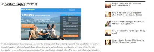 Screenshot of a review on GenitalHerpesDatingSites.info